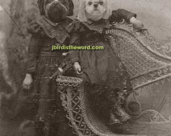 8x10 Custom Vintage Antique photograph rendering with 2 of your pets FREE SHIPPING in the USA
