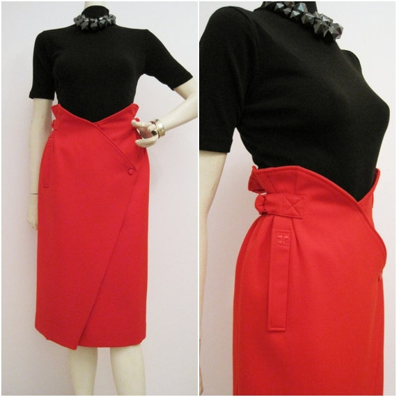 80s Skirt Vintage 80s Courreges Designer Wrap Red Pencil M - Winter Sale