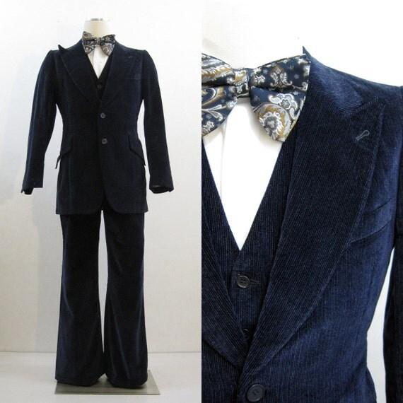 70s Suit Vintage Men S Blue Velvet 3 Piece Vest Jacket
