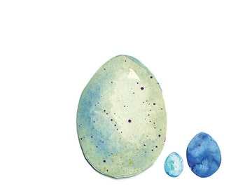 Three eggs - Watercolour, Pen and Ink Illustrated, blank A5, 100% recycled Card with Envelope.