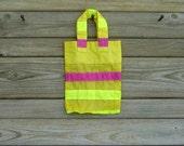 Small Yellow Gift Bag Repurposed Ripstop Nylon Parachute Slider