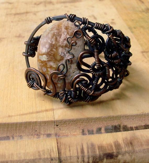 Ocean Jasper Copper Cuff Bracelet - Black Friday Sale - Rustic - Bohemian Jewelry - stoneandbone - Women's Christmas Gift