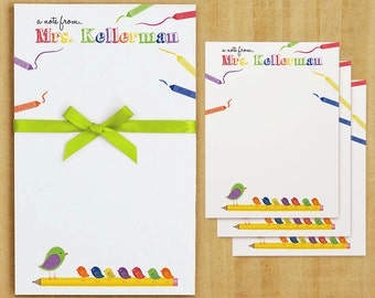 Personalized Crayon Teacher Stationary Set  - Notepad and Note Cards - Crayon Teacher