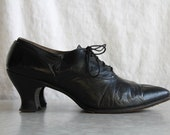 Antique 1910s Shoes . Edwardian Black Leather . WITCH SHOE . Pointed Toe . Vintage Footwear. Low Mileage - VeraVague