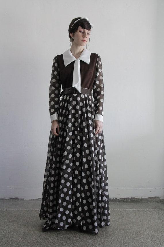 RESERVED . Vintage 60s Maxi Dress . Polka Dots . Belt . Brown Sundress . Fall Fashion . Large Collar . Secretary Bow