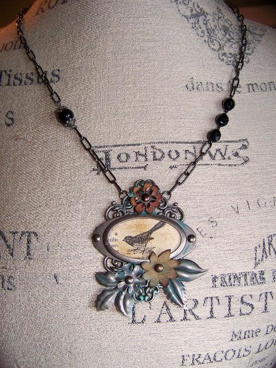 Original Vintage Bird  Necklace Antique Bird Pendant Vintage Assemblage Necklace