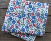 Custom Listing for FeedsackQueen: Vintage Blue and Red Floral Fabric, one yard