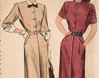 1940s Simplicity 1891 Vintage Sewing Pattern Misses Accessory Dress Shirtwaist Dress Afternoon Dress Size 16 Bust 34