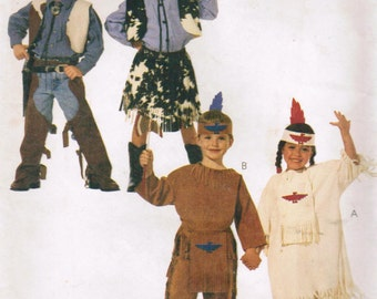 1990s McCalls 8868 Classic Sewing Pattern Children's Costumes Cowboys Indians Size 5 - 6