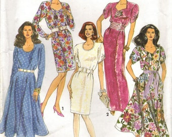 1990s Simplicity 7610 Vintage Sewing Pattern Misses Slim Dress, Flared Dress Size 10 to 16, Bust 32-1/2 to 38