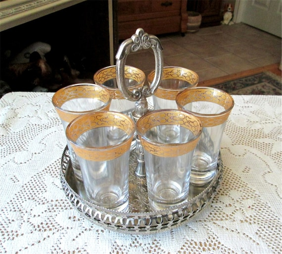 England Silverplate Tray, Center Handle Footed Caddy, Glasses Serving Set, Appertif Cordial Leonard Engagement Gift