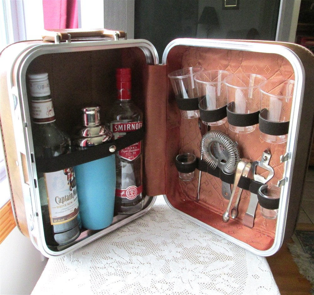 Vintage Portable Travel Bar W Tools Suitcase Cocktail Shaker