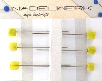 Jade Sewing Pins - Set of 6 medium long
