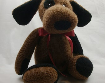 Plush Puppy - Hand Knit -16 Inches Tall - Ready to Ship