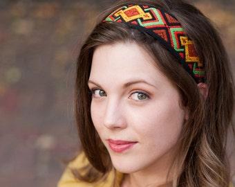 Tribal Boho Headband, Boho Headband, Tribal Headband, Forehead Headband, Bohemian Headband, Native American Headband, Hippie Headband, Aztec