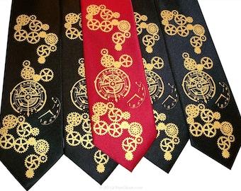 Steampunk tie mens necktie Clock Works gear design
