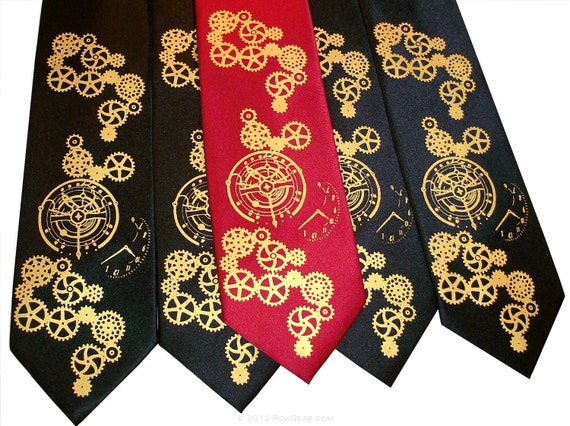 Men's neckties, wedding set of 5 ties printed to order in your colors. clock necktie