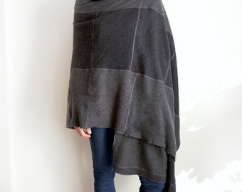 recycled cashmere wrap in gray shawl sweater cape scarf