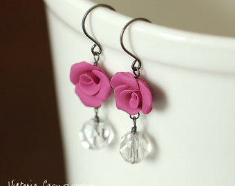 Magenta Rose Earrings, Vintage Glass, Sterling Silver, Handformed Clay Rose, Flower Floral Earrings - Ready to Ship