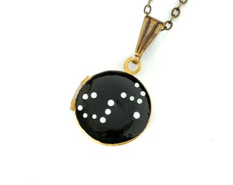 Scorpio Zodiac Constellation Necklace on Vintage Tiny Locket - Hand Painted - Brass Chain, October November Birthday, Scorpion