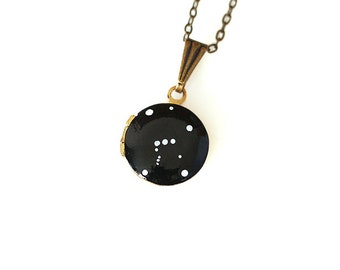 Orion Constellation Necklace, Tiny Vintage Locket - Hand Painted - Brass Chain
