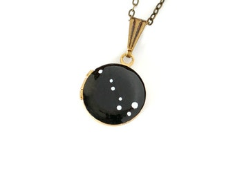 Big Dipper Necklace, Ursa Major, Constellation Jewelry, Vintage Locket, Tiny, Small, Hand Painted, Brass, Astronomy Gift, Geek Gift