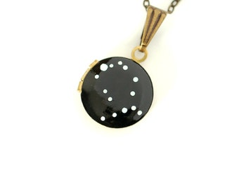 Gemini Zodiac Constellation Necklace on Vintage Tiny Locket - Hand Painted - Brass Chain