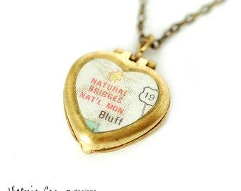 Utah Map Necklace, Natural Bridges, Tiny Vintage Heart Locket