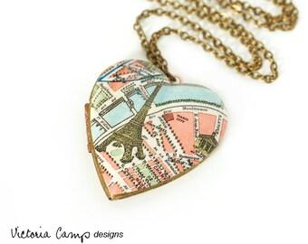 Paris Eiffel Tower Map Necklace, Large Vintage Heart Locket,  France, Paris Necklace, Antique Map Jewelry