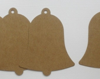 "Bell Chipboard Die Cuts, Vintage Christmas Bells, Bare Plain Diecuts, Scrapbook Embellishments 2 1/2"" x 3"""