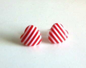 Striped Heart Earrings
