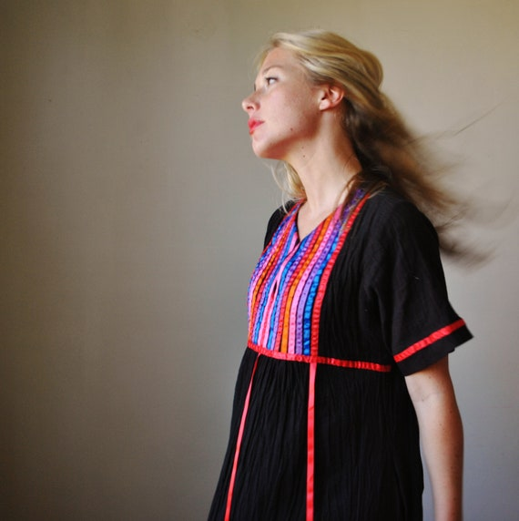 1980s Rainbow trimmed Hippie dress, size small/medium