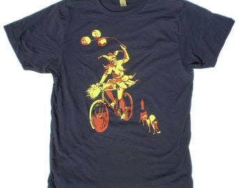 Men's T-Shirt, The Cycling Jester and the Two Cats, in Navy Blue