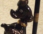 Vintage Ceramic Black Poodle Pen Holder in Original Case - 1950