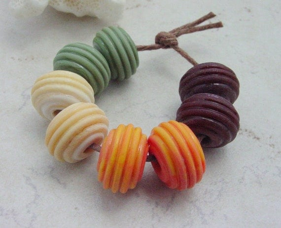 Lampwork Beads - Handmade Glass Beads -  Etched Pairs