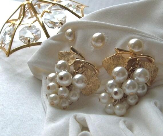 Reserved For Shenaz Ozden  Grape Cluster Vintage Pearl Earrings