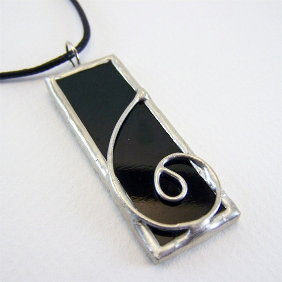 Black Smoke - Stained Glass Pendant with Black Cord