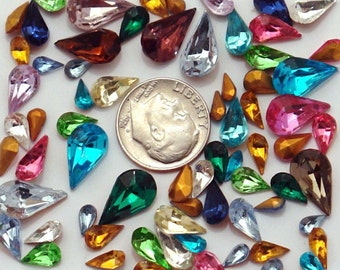 50 vintage glass pear shaped rhinestones - tear drops - assorted colors and sizes