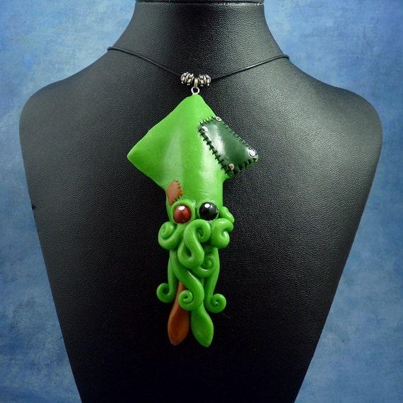 Frankenpod Squid Necklace, Polymer Clay Halloween Jewelry