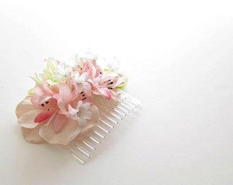 flower hair accessories, floral hairpiece, bridesmaid's hair flowers, pink green white, spring hair comb, pink flower comb