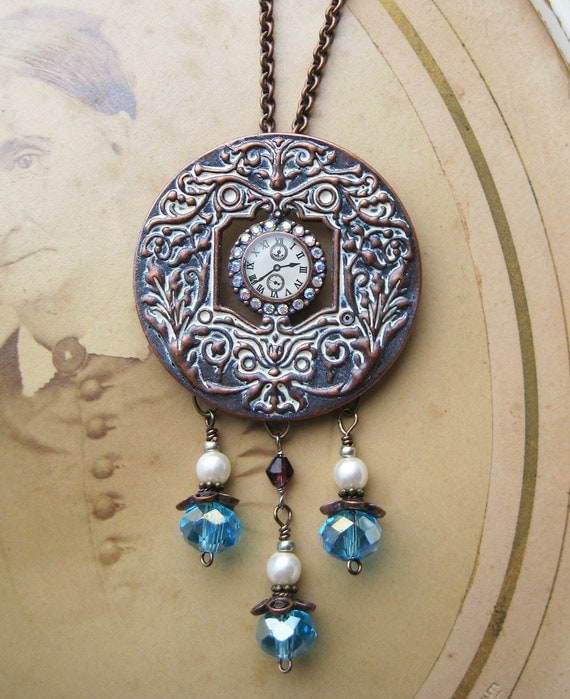 Steampunk Necklace RHINESTONE Repousse shabby Chic Pearls aqua glass beads copper watch face Necklace