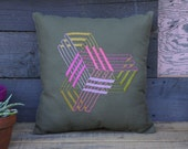 Embroidered Neon Colorful Isometric Design Pillow- Olive and Tan Canvas