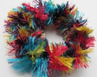 2 Rainbow Hair Scrunchies, Crocheted Ponytail Holder, Rainbow Glitter  Scrunchies, Crochet Scrunchies , Girls Hair Accessory, 2 Scrunchies