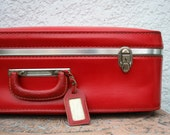 Cherry Red Vintage Suitcase  with Aluminum trim and ORIGINAL KEY