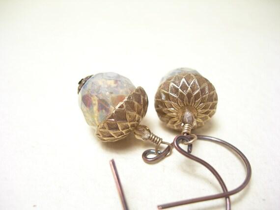 Cyber Monday Sale, Acorn earrings linen glass autumn fashion