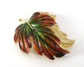 Autumn Fall Leaf Enamel Brooch Pin  Maple Leaves Vintage Fall Colors Jewelry