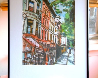 Large Framed Brooklyn Art 16x20 Frame, 11x14  Art Print  Prospect Heights Brownstones Urban Painting by Gwen Meyerson