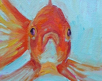 Goldfish - Goldfish Art - Paper - Canvas - Wood Block - Giclee Print