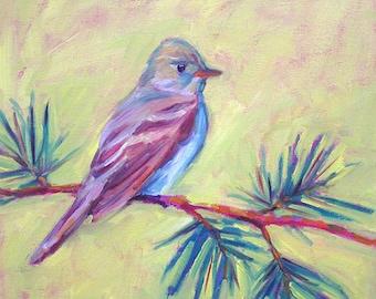 Eastern Wood Pewee - Bird Art - Paper - Canvas - Wood Block - Giclee Print