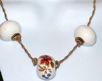 Vintage Necklace - Signed Vogue - Chunky Porcelain Beads - Rope Chain